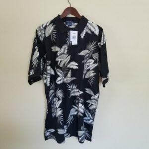 Nautica Leaf Print Black Polo Shirt Size XXL